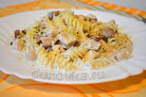 куриная грудка с грибами в сметанном соусе на сковороде