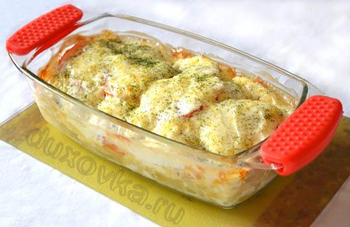 филе трески запеченное в духовке с картофелем