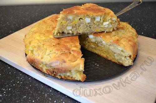 заливной пирог с яйцом и луком в духовке рецепт #10